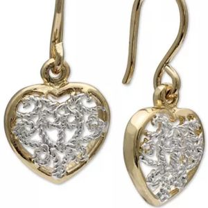 Filigree Heart Drop Earrings-18k Gold-Plated